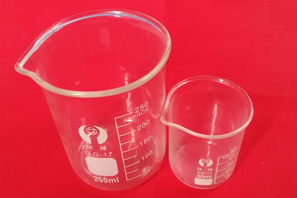 A widely lab glassware - glass beaker